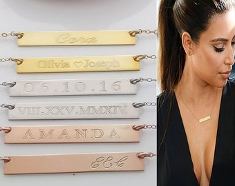 14k Gold bar Necklace, Name plate necklace, Personalized name Bar Necklace, Gold Necklace, Engraved Necklace, Christmas Gift, Bar Necklace