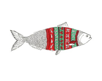Sweater Fish Greeting Card (Package of 5)