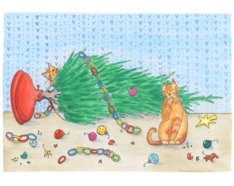 Naughty Cats Greeting Card (Package of 5)