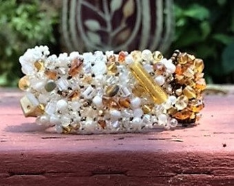 Earth Tone Freeform Beaded Cuff Bracelet