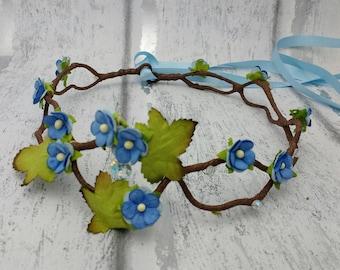 Forget-me-not flower crown, blue floral hair wreath, pretty hair garland, flower girl, blue floral hair wreath, UK, circlet, elven crown