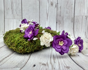Purple flower crown, floral hair garlands, bridal, wedding, roses, festival headdress, floral hair wreaths, UK, bridesmaids, flower girls