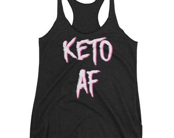Keto AF, Two-Tone White & Pink, Crossfit Tank Top, Workout Tank Top, Funny Gym Tank Top, Running Tank, Fitness Gear, Fitness Apparel