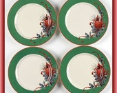 Lenox, Set of 4 Winter Greetings Green Dessert Party Plates New in Box