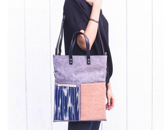 Leather Crossbody Bag, Vegan Leather Bag, Foldover Crossbody Bag, Leather and Canvas Tote, Minimalist Bag, Japanese Fabric, Modern Bag