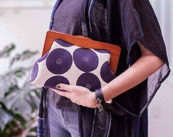 Large Clutch, Wooden Frame Clutch Purse, Oversized Clutch, Evening Bag, Japanese Fabric,  Toiletry Bag, Ultra Violet, Unique Gifts for her