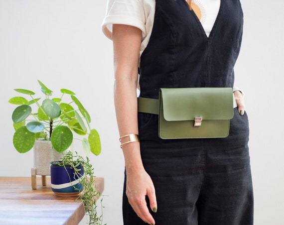 Minimalist Leather Belt Bag, Convertible Fanny Pack, Vegan Leather Waist Bag, Versatile Bum Bag, Small Belt Bag for Women