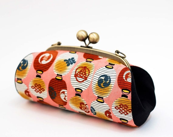 Colorful Clutch Purse, Japanese Lantern Bag, Evening Bag, Kiss Lock Purse, Clutch with Strap, Japanese Fabric, Unique Gifts for her