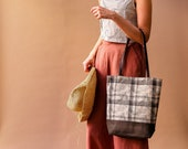 Leather and Canvas Tote, Plaid Tote Bag with Leather Straps, Womens Minimalist Shoulder Bag, Waxed Canvas Tote Bag, Summer Tote Bag