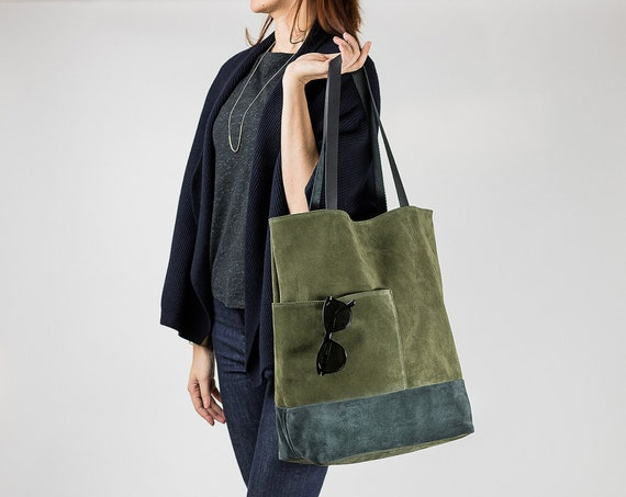 OLEO - Olive Green Suede Bag