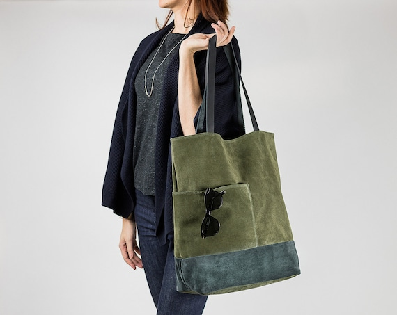 Khaki Suede Leather Tote Bag with Pockets, Minimalist Everyday Shoulder Bag, Soft Leather Tote, Large Leather Shopper, Gifts for her