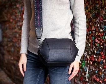 Black Crossbody Bag, Vegan Leather Shoulder Bag, Geometric Purse, Minimalist Structured Bag, Vegan Crossbody purse, UNIQUE Gifts for her