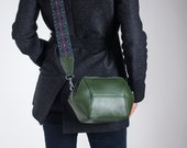 Green Womens Crossbody Bag, Vegan Leather Bag, Minimalist Geometric Shoulder Bag, Structured Bag