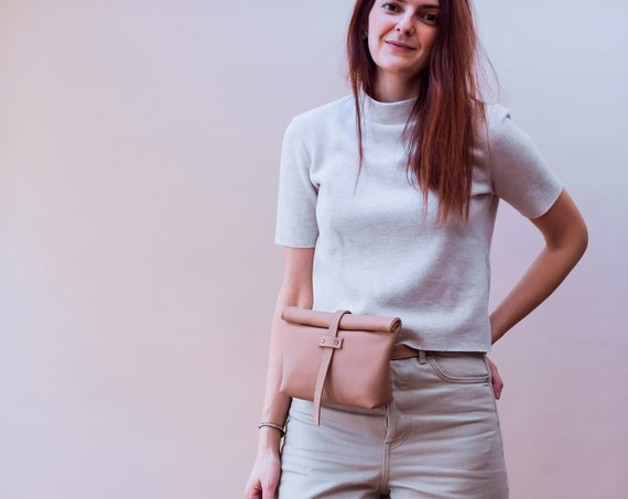 Light Beige Leather Belt Bag, Fanny Pack for Women, Fold over Bag, Leather roll on bag, Convertible Belt Bag, Minimalist Belt Bag