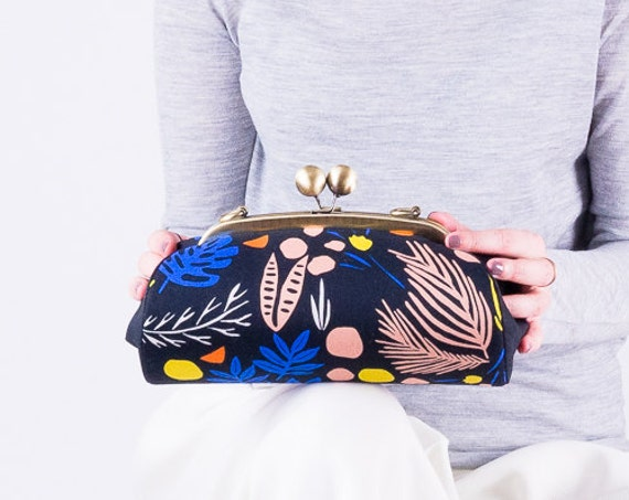 Colorful Clutch Purse, Evening Clutch, Kiss Lock Purse, Minimal Floral Clutch handbag, Metal Frame Purse, Clutch with strap, Gifts for her