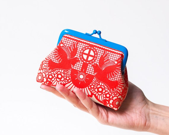 Red Coin Purse, Kiss Lock Purse, Metal Frame Pouch, Change Purse, Blue Purse, Birds Purse, Mini purse, Red White Blue Purse, Small Purse