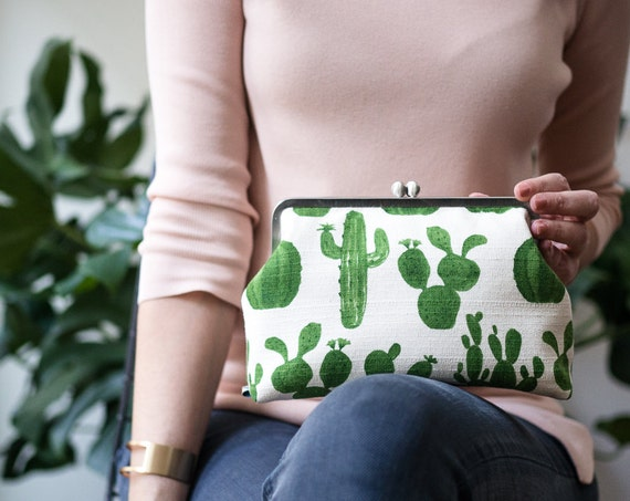 Womens Clutch Bag with Shoulder Strap, Cactus Clutch Bag, Kisslock Frame Clasp Purse, Succulent Toiletry Bag, Plant Lady Gift for her