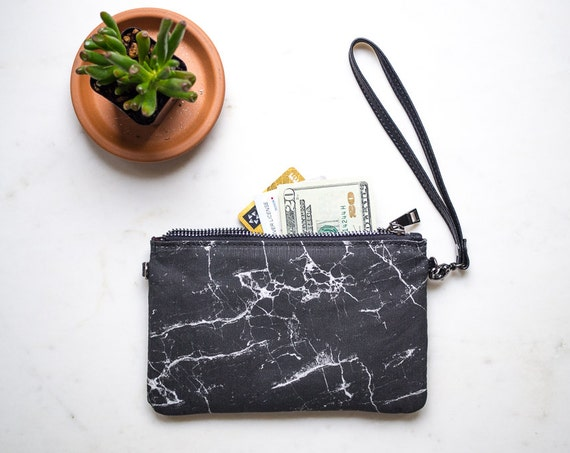 Womens Wallet Purse, Minimalist Clutch Wristlet Wallet, Black Marble Purse, Zippered Credit Card Holder