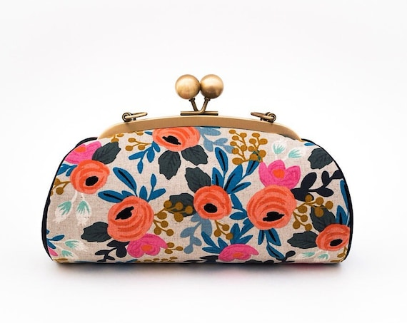 Floral Clutch Bag, Kiss lock Clasp Clutch with strap, Riffle Paper Co Le Fleurs, Bridesmaid Gift, Unique Valentines Day Gifts for her,