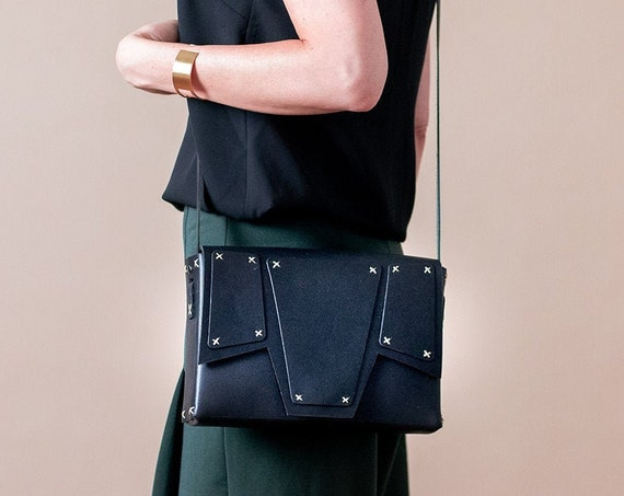 Black Leather Crossbody Bag, Geometric Shoulder Bag, Womens Minimalist Bag, Genuine Leather Satchel Bag, Structured Bag, Box Bag