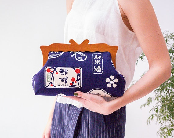 Oversized Clutch Bag, Japanese Fabric Women Clutch Bag, Wooden Frame Purse, Evening Bag, Large Cosmetic Bag, Japanese Letters, Gifts for her
