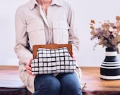 Large Clutch Bag, Wooden Frame Purse, Oversized Clutch, Spacious Toiletry Bag, Plaid Bag, Checkered Purse