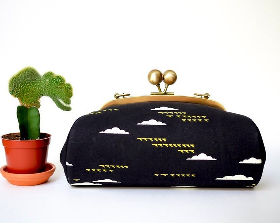 Black Clutch Bag with Strap, Birds and Clouds Handbag, Minimalist Bag, Kiss Lock Purse, Metal Frame Canvas Clutch Purse, Unique Gift for Her