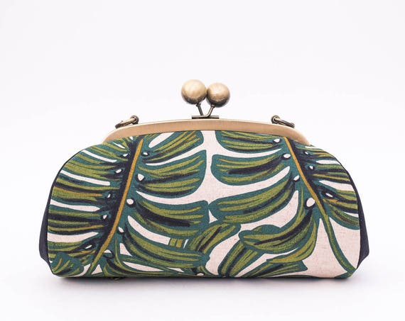 Monstera Clutch Purse with Shoulder Strap, Tropical Clutch Bag, Palm Leaves, Kiss Lock Frame Purse, Riffle Paper Co, Womens Gift for her