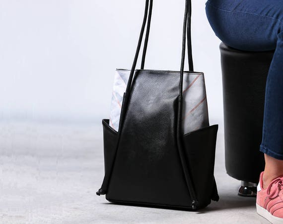 Black leather shoulder bag, Vegan leather bag, Mothers Day Gift, Leather and Canvas Bag, Minimalist Hobo bag, Leather tote bag, Everyday Bag