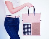 Leather Crossbody Bag, Large Tote, Minimalist Bag, Vegan Leather Bag, Canvas and Leather Laptop Bag, Foldover Bag, Gingham, Gifts for her