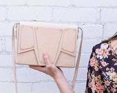 Natural Leather Bag, Vegetable Tanned Leather Purse, Minimalist Satchel Bag, Nude Leather Bag, Genuine Leather Shoulder Bag, Geometric Bag