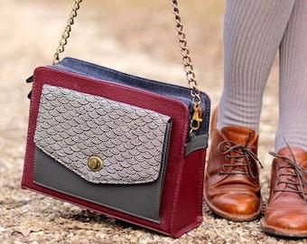 Leather Shoulder Bag in Burgundy, Vegan Leather Crossbody Bag, Womens Satchel Bag, Japanese Fabric Bag, Unique Gift for her