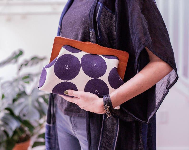 Large Wooden Frame Clutch Bag With Shoulder Straps Large Cosmetic Bag Boho Clutch Bag Oversized Clutch Purse Japanese Fabric Bag