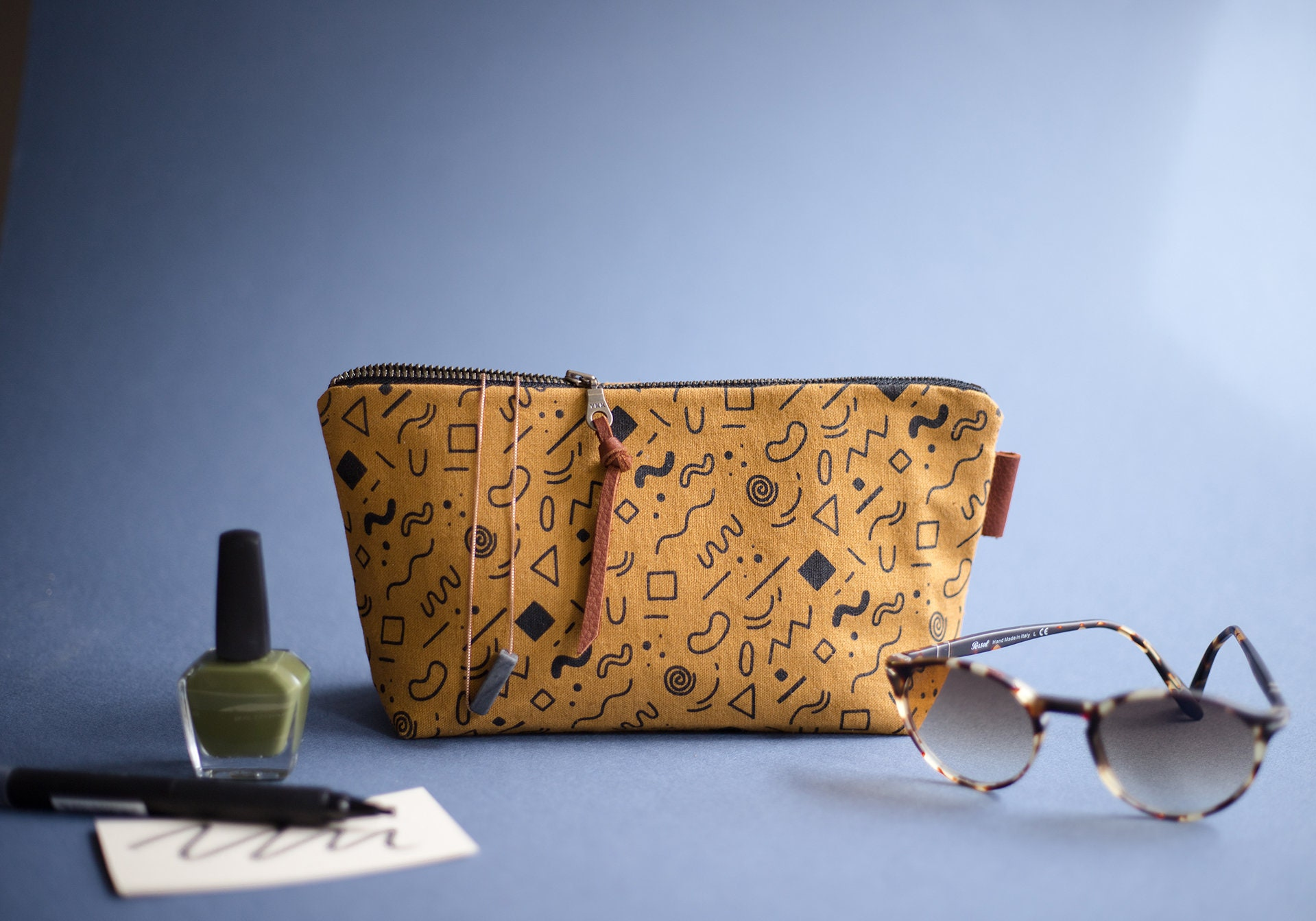 4c8ffcc13905 Mustard Yellow Canvas Zipper Pouch, Screen Printed Pouch, Small ...