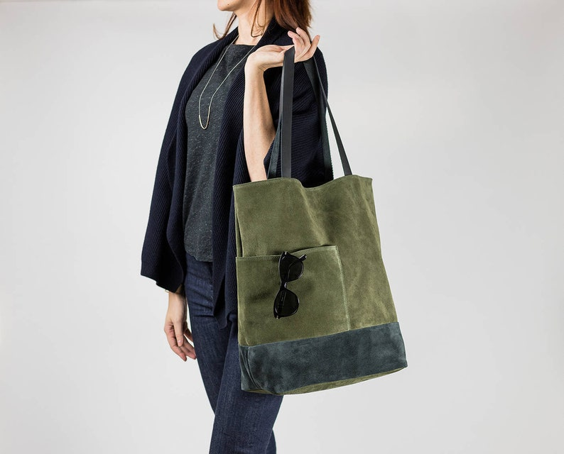 2df9f66345 Khaki Suede Leather Tote Bag with Pockets Minimalist Everyday