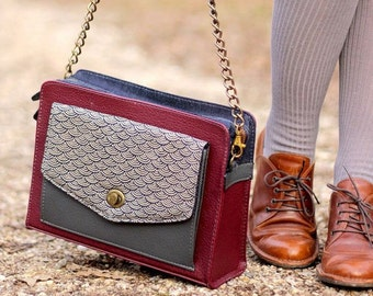 Burgundy Shoulder Bag, Vegan Leather Bag, Womens Satchel, Crossbody Bag, Leather and Canvas Bag, Japanese Wave Fabric, Unique Women's gifts