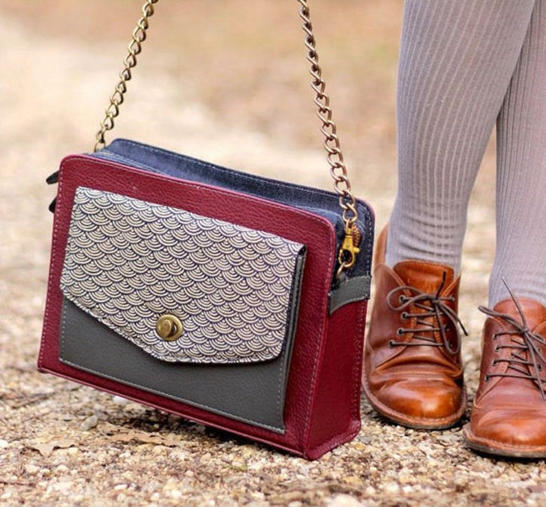 Leather Shoulder Bag in Burgundy Vegan Leather Crossbody Bag image 0