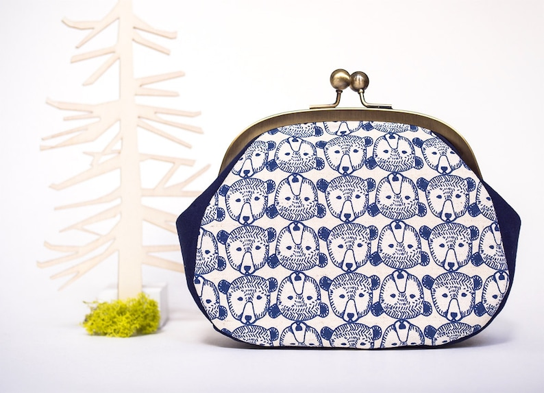 c6cfc9f40dac Bears Large Coin Purse, Kiss Lock Purse, Metal Frame Bag, Clutch with  Strap, Japanese Fabric, Kawaii Purse, Money Pouch, Gifts for her
