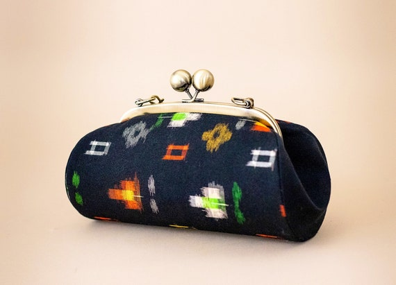 Vintage Japanese Fabric Clutch Bag, Boho Chic Clutch Purse, Yukata Fabric Bag, Kiss Lock Frame Clutch Purse, Large Black Evening Bag