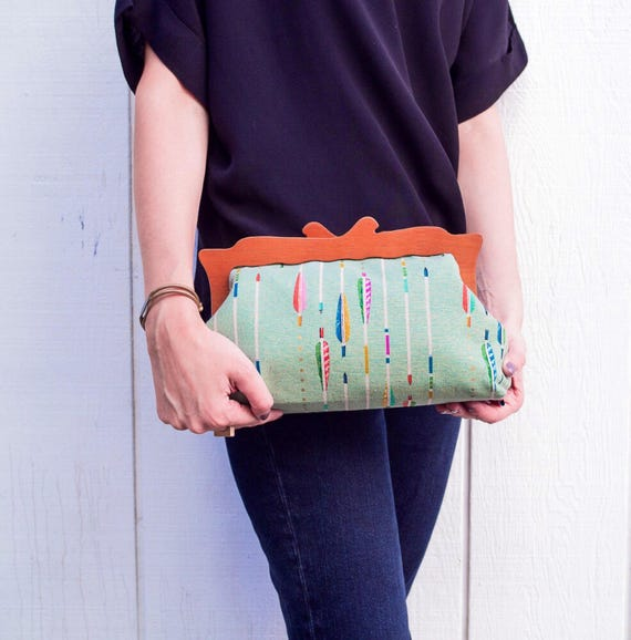 Oversized Clutch Purse, Mint, Colorful Arrows Clutch Handbag, Wooden Frame Purse, Evening Clutch, Japanese Fabric, Cotton and Steel, Gifts