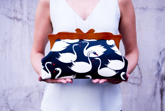 Wooden Frame Clutch Purse, Swans Purse, Womens Evening Bag, Oversized Clutch Bag, Canvas Cosmetic Bag, Summer Clutch, Unique Gifts for her
