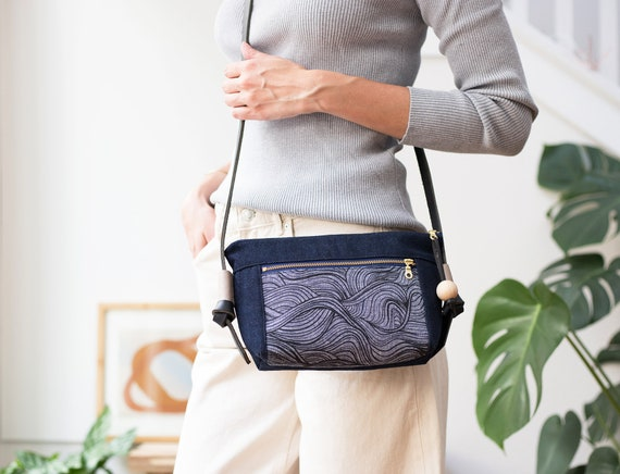 Screenprinted Purse, Small Shoulder Bag, Crossbody bag with leather straps, Unique Gifts for her