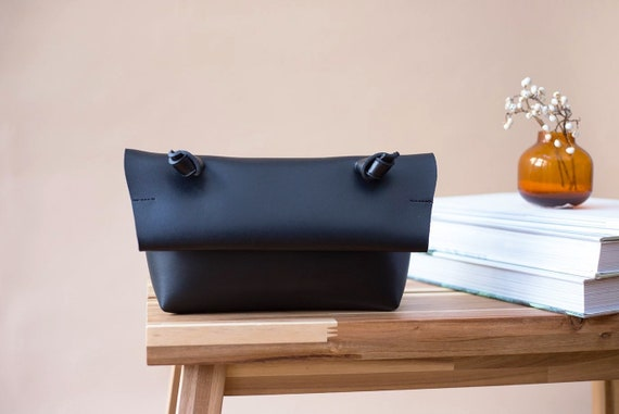 Minimalist Black Vegan Leather Bag, Small Crossbody Bag for Women, Womens Shoulder Bag Vegan, Soft Leather Bag, Modern Everyday Bag