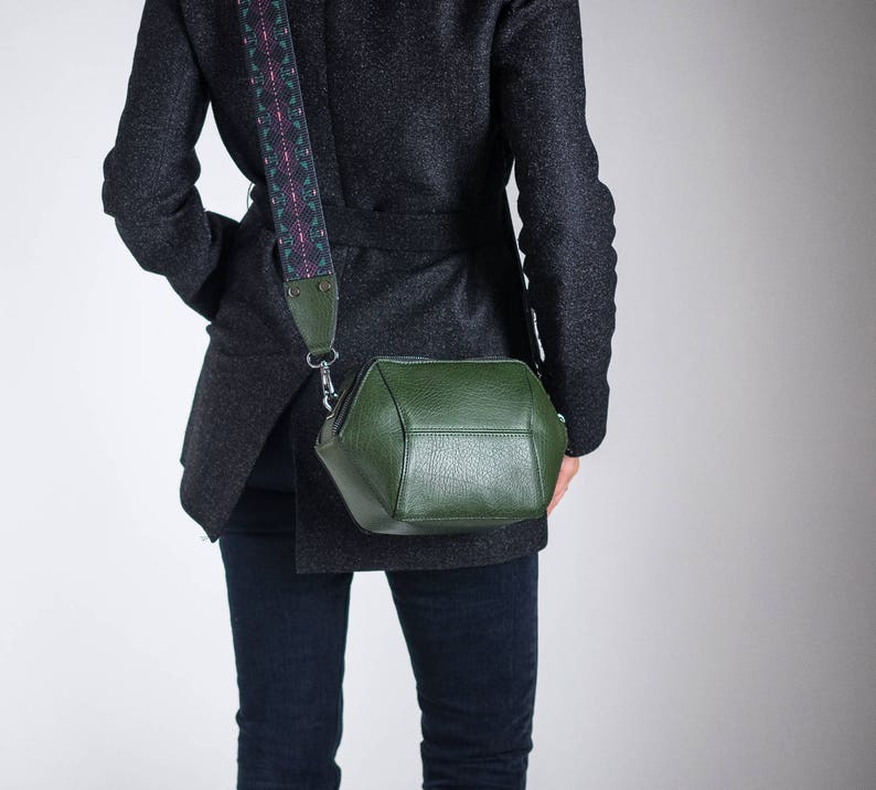 Green Womens Crossbody Bag Vegan Leather Bag Minimalist  1aea54c224f65