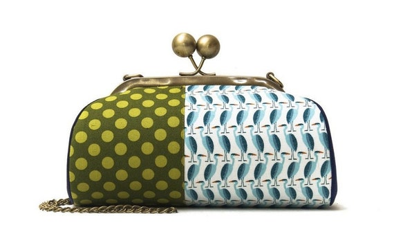Green Clutch with Strap, Kiss Lock Purse, Crossbody Clutch, Birds Clutch, Organic Fabric, Heron, Polka Dots, Colorful Handbag, Gifts for her