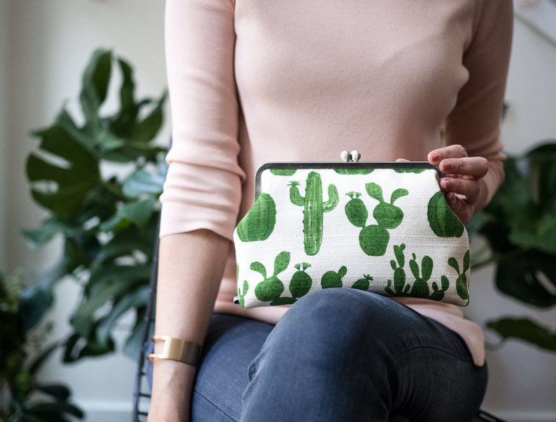 Womens Clutch Bag with Shoulder Strap Cactus Clutch Bag image 0