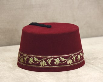 3cf7e38a516 Velvet Felt Fez Hat Shriner Turkish Casablanca Moroccan Cap Costume  Accessory