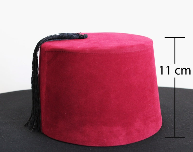 Velvet Fez Hat Shriner Turkish Casablanca Moroccan Cap Costume  1bd21aa5415b