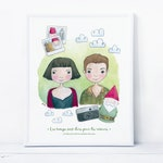 Amélie Poulain Print, French Love Movie, Fabuleux destin, Gift For Her, Fan art, Gnome, Red Green, Dream Quote, Watercolor Portrait