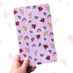 Notebook, Writing Book, Bullet Journal,Sketchbook, Rainbow, Flower Pattern, Gift For Her, Stationary, Watercolor Pattern, Exclusive Pattern
